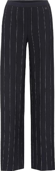 Striped Crepe Wide Leg Trousers