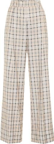 Checked High Rise Straight Pants