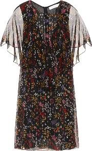Floral Printed Fil Coupe Silk Dress