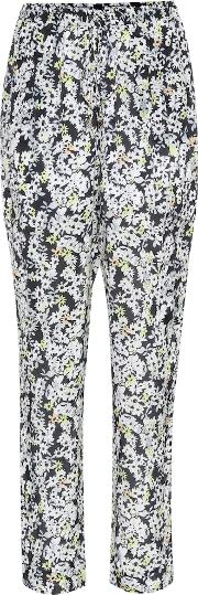Floral Printed Silk Blend Trousers