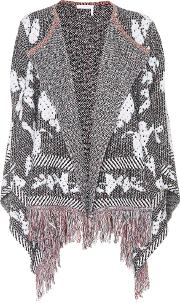 Fringed Cotton Blend Cardigan