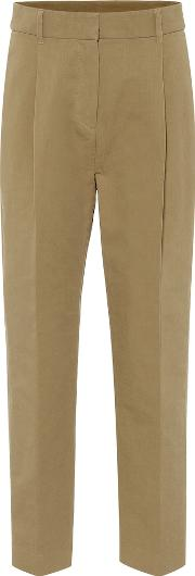 High Rise Cotton Straight Pants