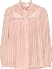 Ruffled Cotton Blend Blouse