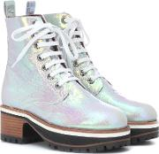 Holographic Leather Ankle Boots