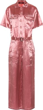 Washed Satin Buttoned Down Jumpsuit