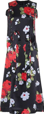 Floral Printed Silk Midi Dress