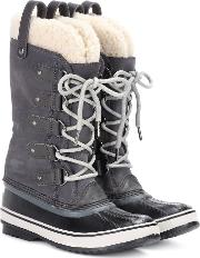 Joan Of Arctic Shearling Trimmed Suede And Rubber Boots