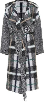 Checked Wool And Mohair Blend Coat