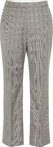 High Rise Checked Wool Pants
