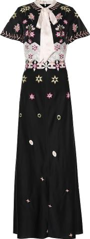 Finale Embroidered Crepe Dress