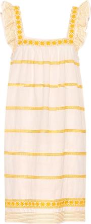 Embroidered Linen And Cotton Dress