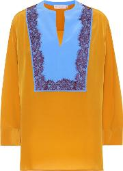 Lace Trimmed Silk Tunic