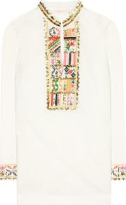 Tory Embroidered Linen And Cotton Tunic