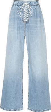 Lace Up High Rise Wide Leg Jeans