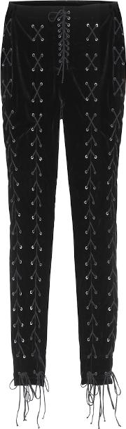 Lace Up Velvet Trousers