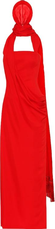 Hooded Crepe Gown
