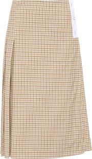 Checked Stretch Wool Skirt