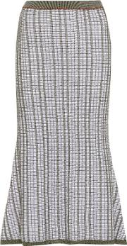 Striped Wool And Cotton Skirt