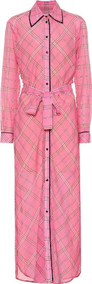 Checked Cotton And Silk Shirt Dress