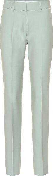 Mid Rise Straight Wool Blend Pants