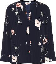 Tossed Poppy Pleated Blouse