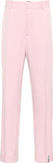 Stretch Wool Mid Rise Pants