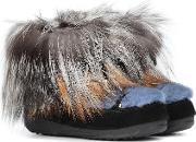 X Moon Boot Mink Fur Ankle Boots