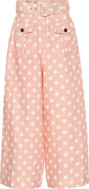 Corsage Safari Polka Dot Linen Pants