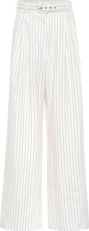 Corsage Striped Linen Pants