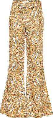 Zippy Paisley Flared Linen Pants
