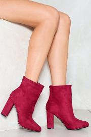 Berry Nice To Meet You Vegan Suede Bootie