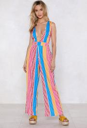 Best Beaches Striped Cover Up Jumpsuit