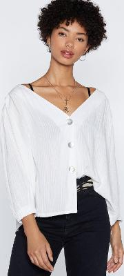 Button Through Puff Sleeve Blouse
