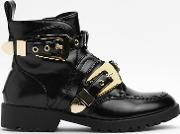 Chain Them Up Faux Leather Bootie