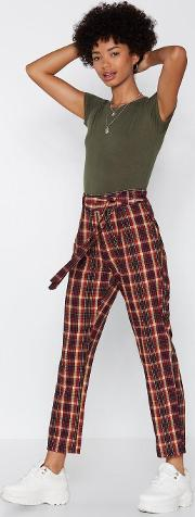 Checked Out Tapered Pants