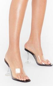 Clear Off Faux Leather Stiletto Mules