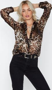 Don't Be So Leopard On Yourself Sheer Shirt
