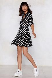 Dot Under The Collar Polka Dot Shirt Dress
