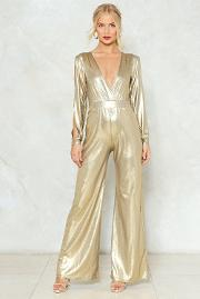 Dripping In Gold Metallic Jumpsuit