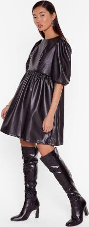 Faux Leather You're In Or Out Puff Mini Dress