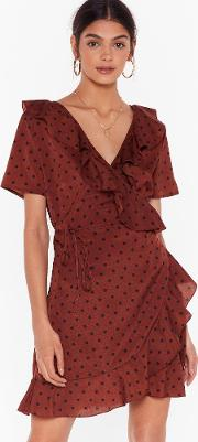In For The Frill Polka Dot Wrap Dress