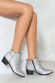 Keeping A Low Profile Glitter Bootie