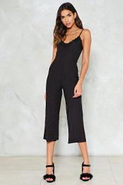 Lace It Alone Ribbed Jumpsuit