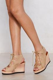 Lace Up Your Bets Wedge Sandal