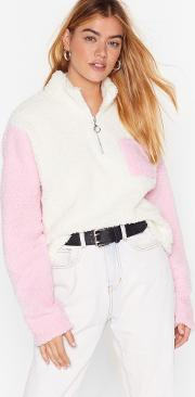 New Kid On The Colorblock Faux Shearling Sweater