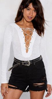 Ride Or Tie Lace Up Bodysuit