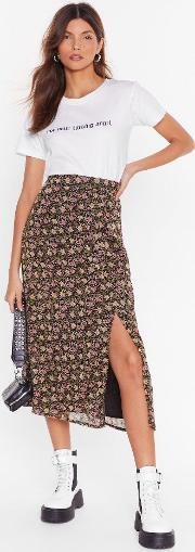 Seed It And Weep Floral Midi Skirt