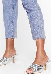 Shake Quilt Up Faux Leather Kitten Heel Mules