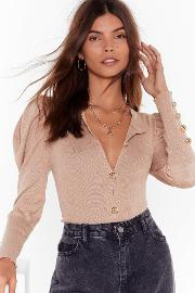 This Is Knit Puff Sleeve Cardigan
