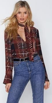 Tied Up Check Blouse